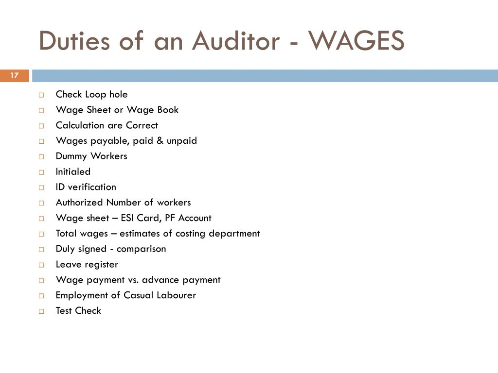 Duties of an Auditor - WAGES