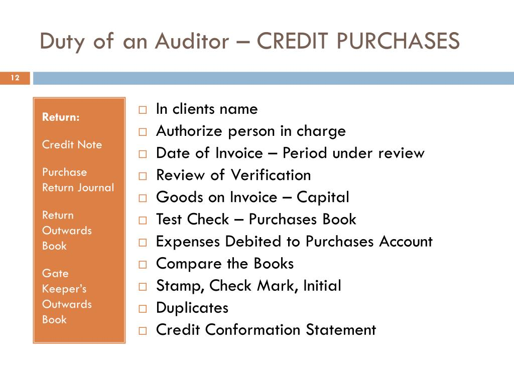 Duty of an Auditor – CREDIT PURCHASES