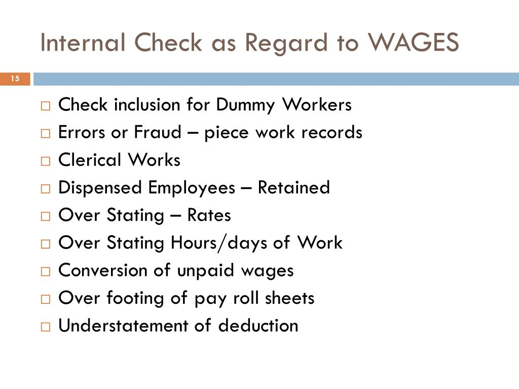 Internal Check as Regard to WAGES