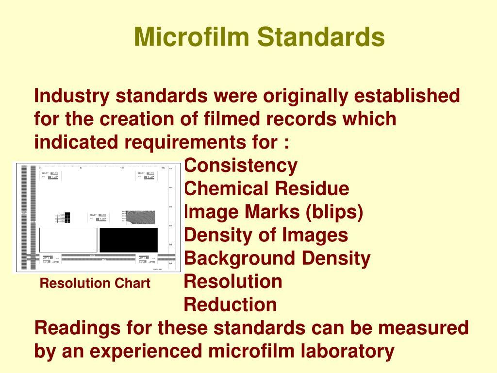 Microfilm Standards