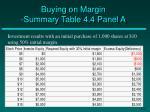 buying on margin summary table 4 4 panel a