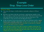example stop stop loss order
