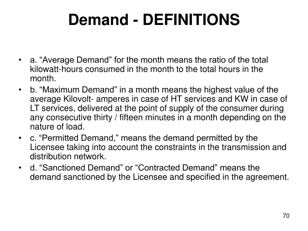 Demand - DEFINITIONS