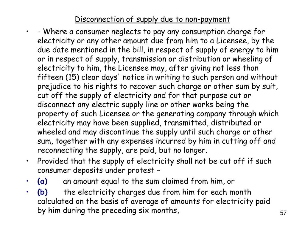 Disconnection of supply due to non-payment