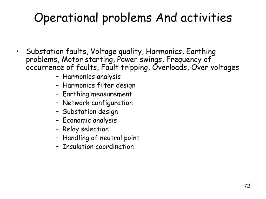 Operational problems And activities