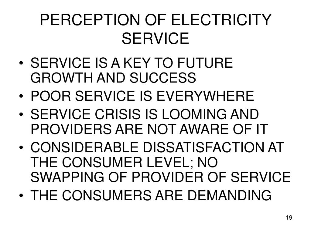 PERCEPTION OF ELECTRICITY SERVICE