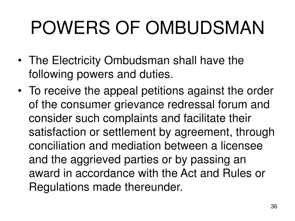 POWERS OF OMBUDSMAN