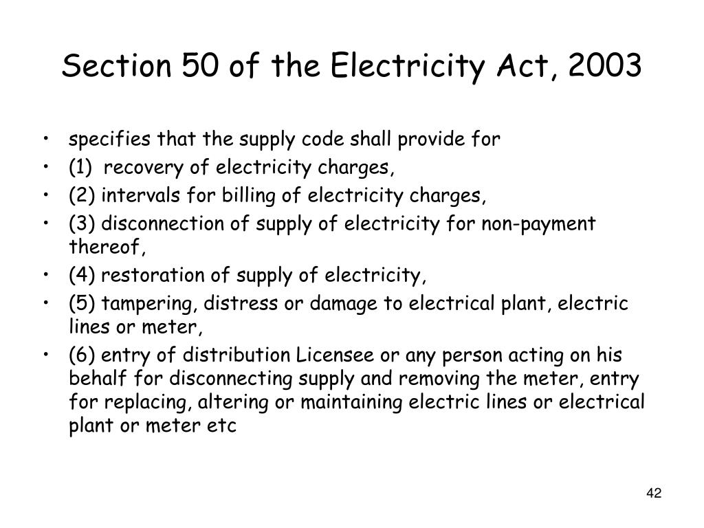 Section 50 of the Electricity Act, 2003