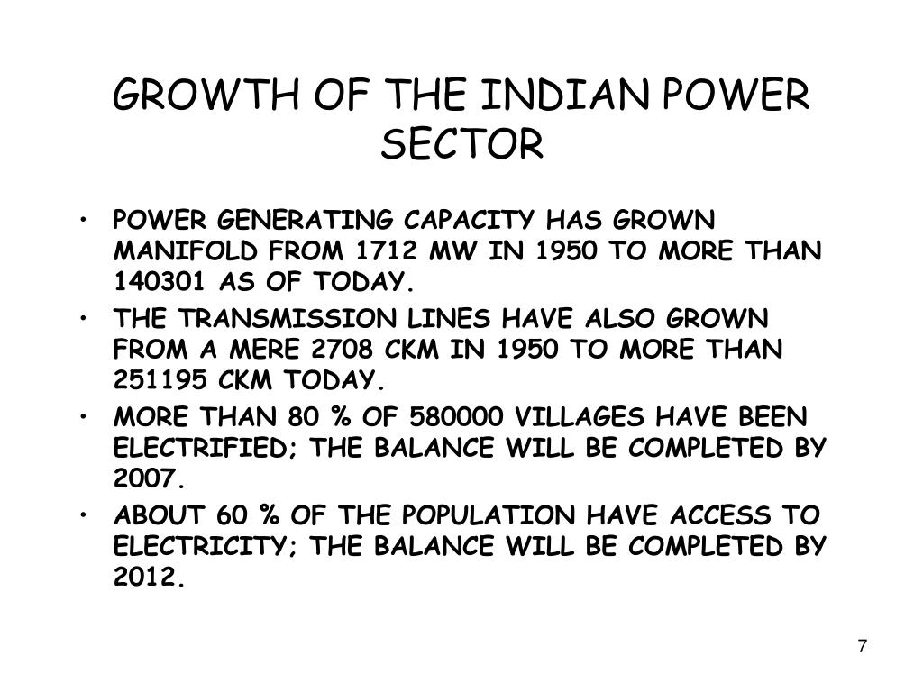 GROWTH OF THE INDIAN POWER SECTOR