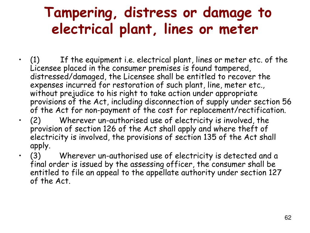Tampering, distress or damage to electrical plant, lines or meter