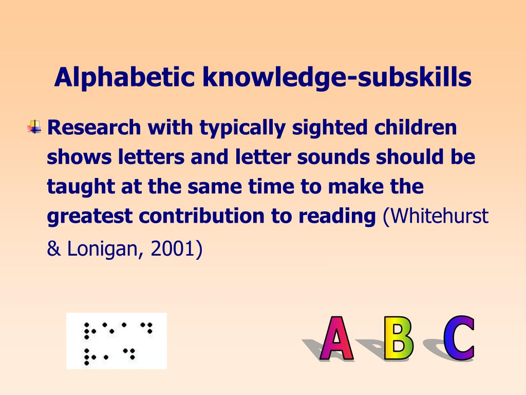 Alphabetic knowledge-subskills