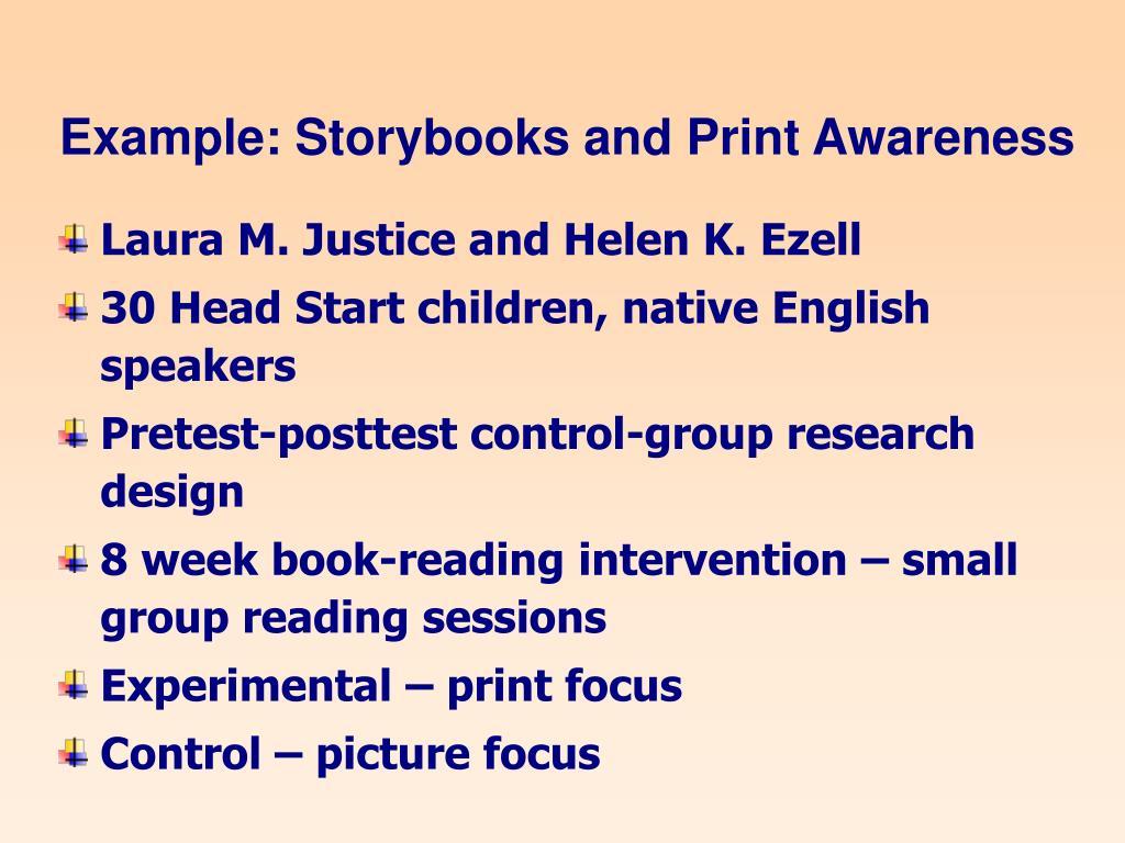 Example: Storybooks and Print Awareness