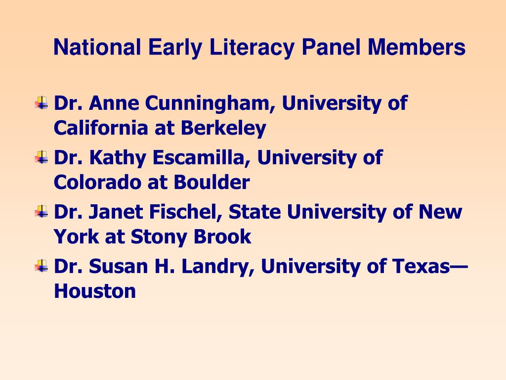 National Early Literacy Panel Members