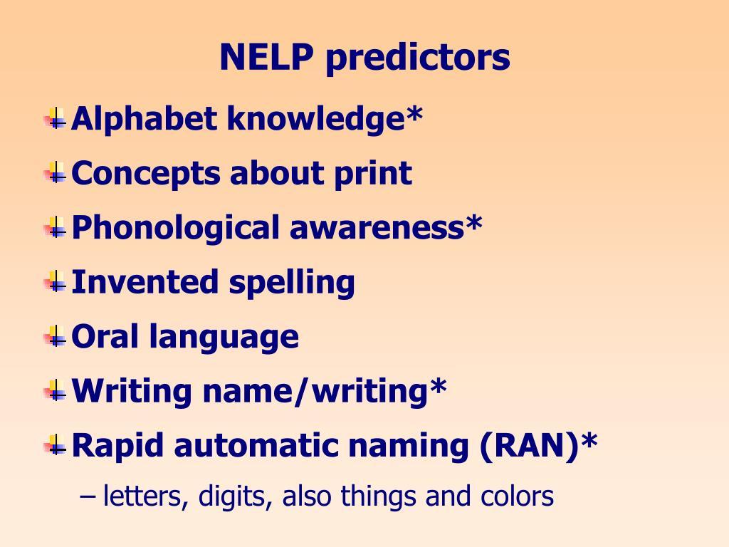 NELP predictors