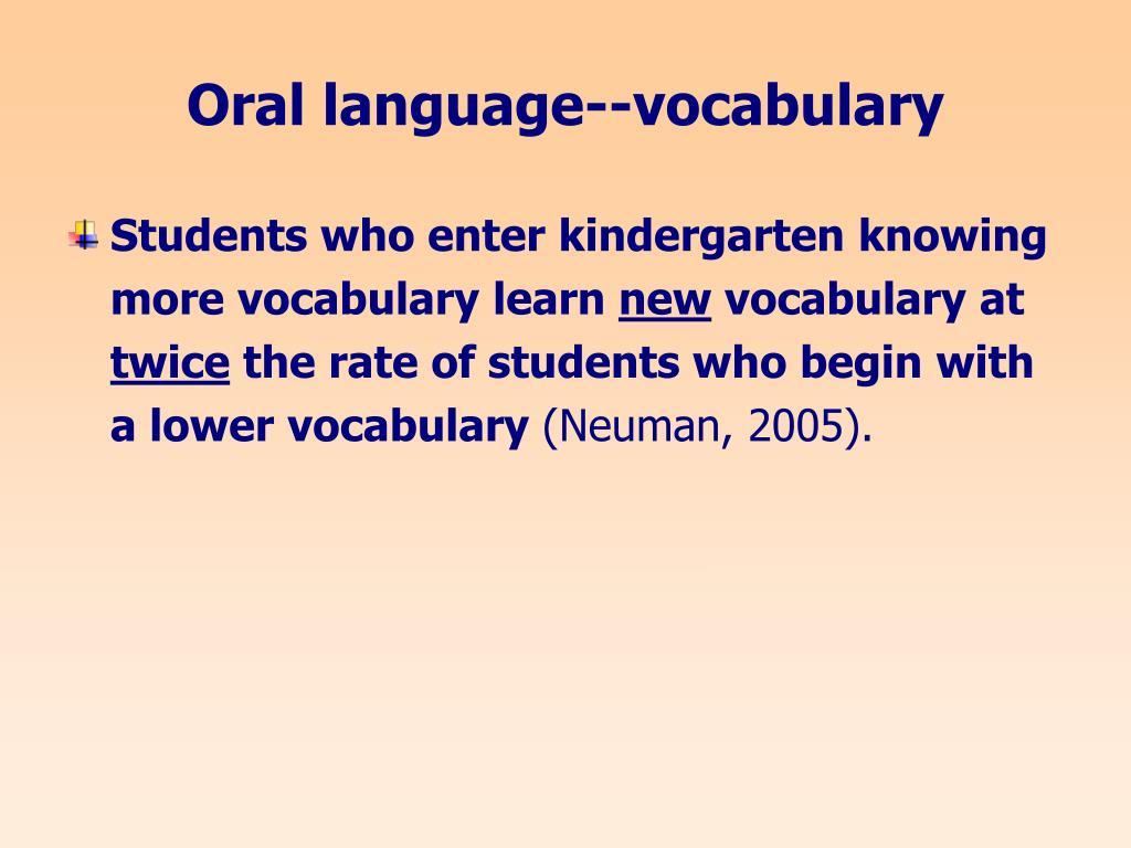 Oral language--vocabulary