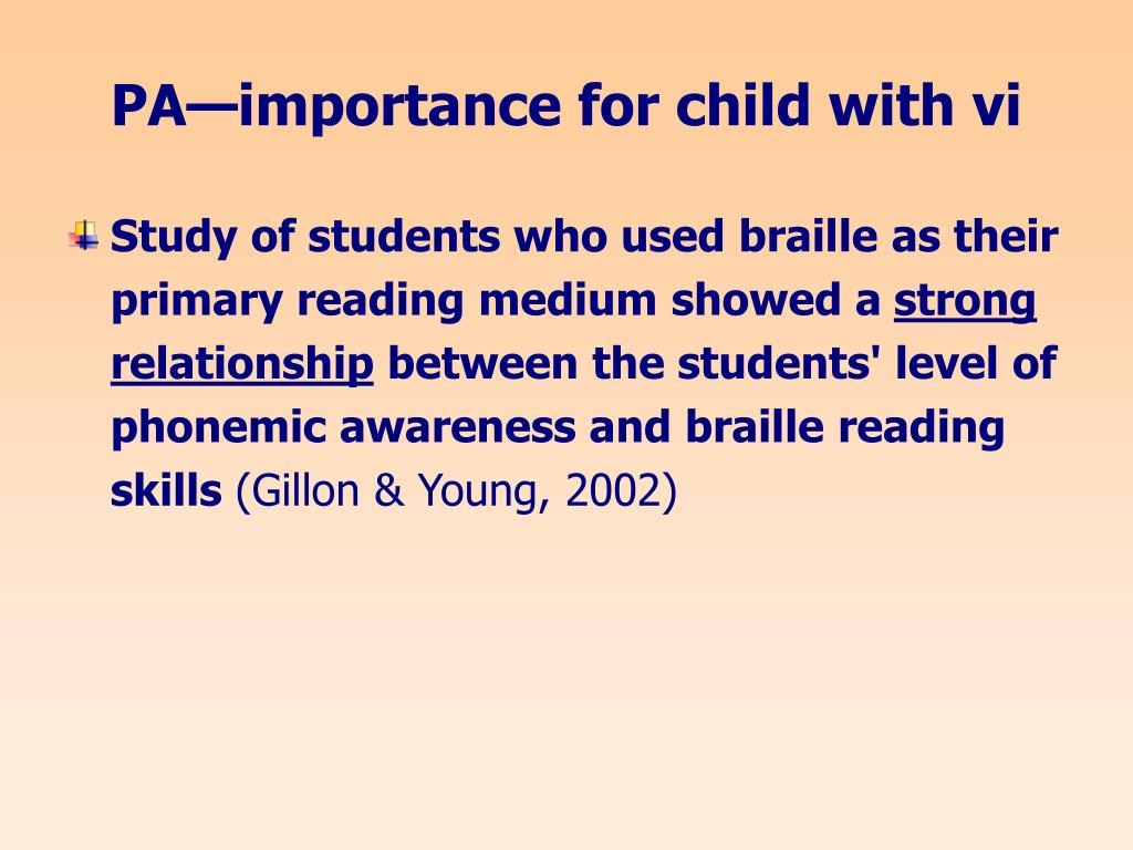PA—importance for child with vi