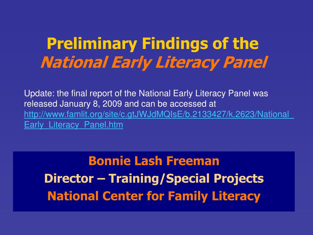Preliminary Findings of the