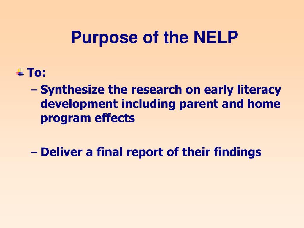 Purpose of the NELP