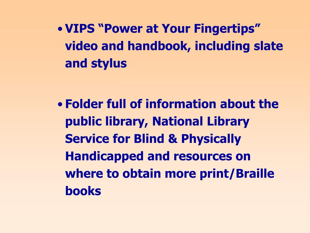 """VIPS """"Power at Your Fingertips"""" video and handbook, including slate and stylus"""