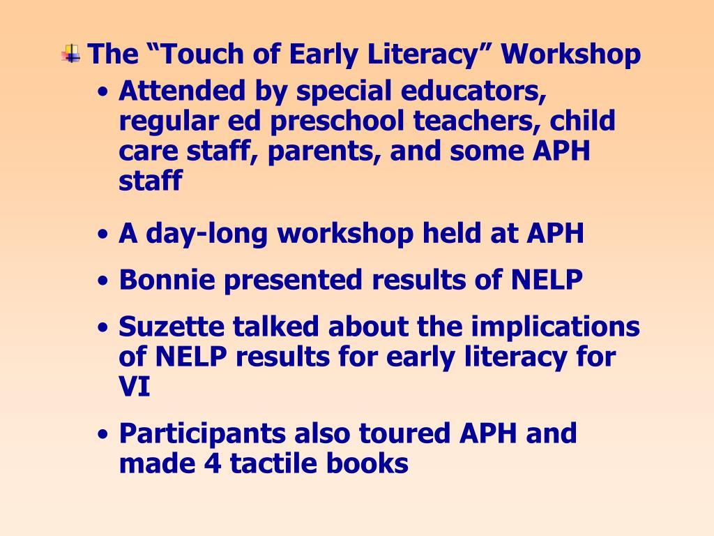 """The """"Touch of Early Literacy"""" Workshop"""