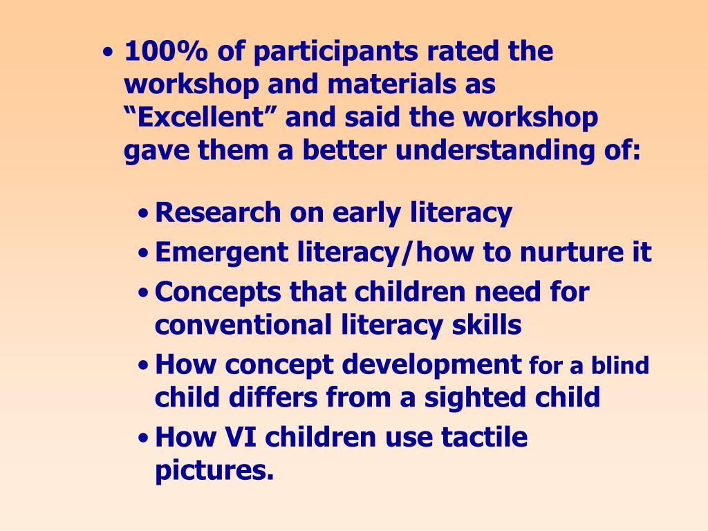 """100% of participants rated the workshop and materials as """"Excellent"""" and said the workshop gave them a better understanding of:"""