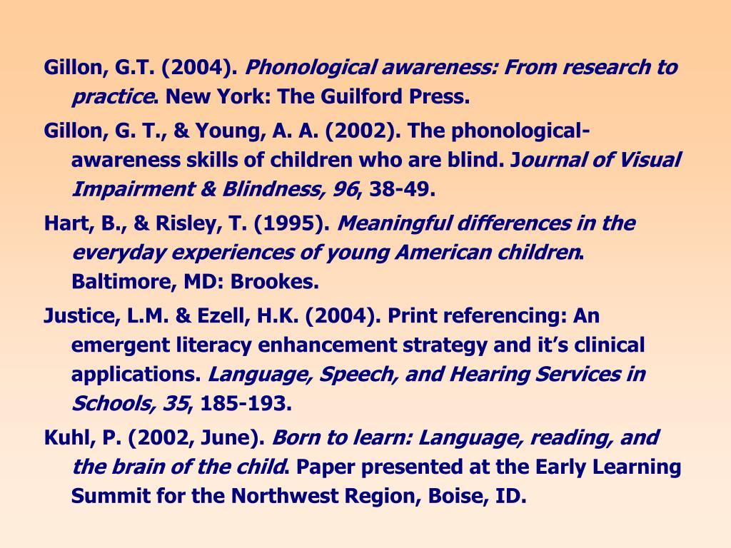 Gillon, G.T. (2004).