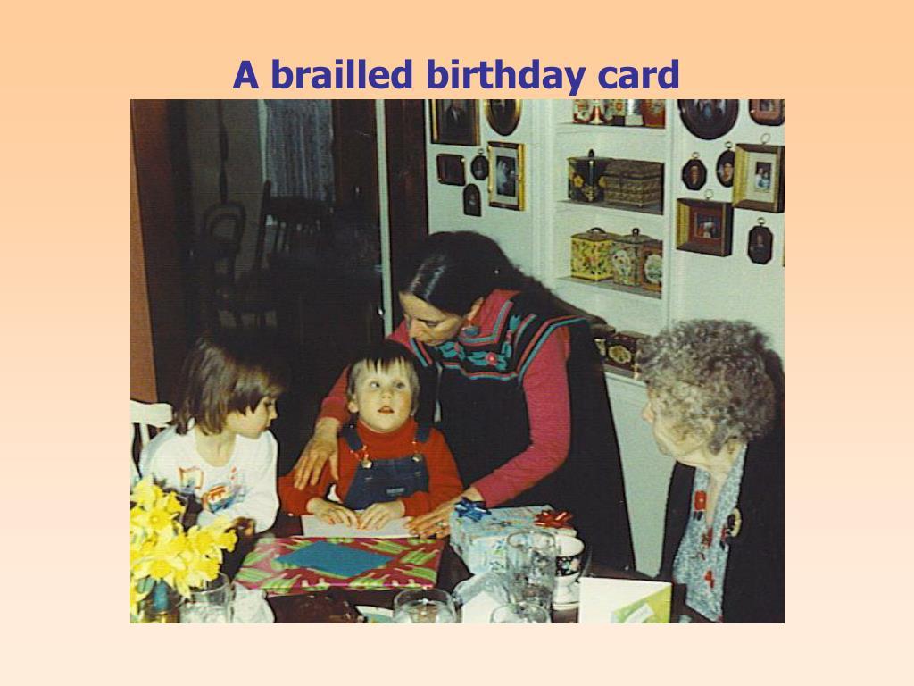 A brailled birthday card
