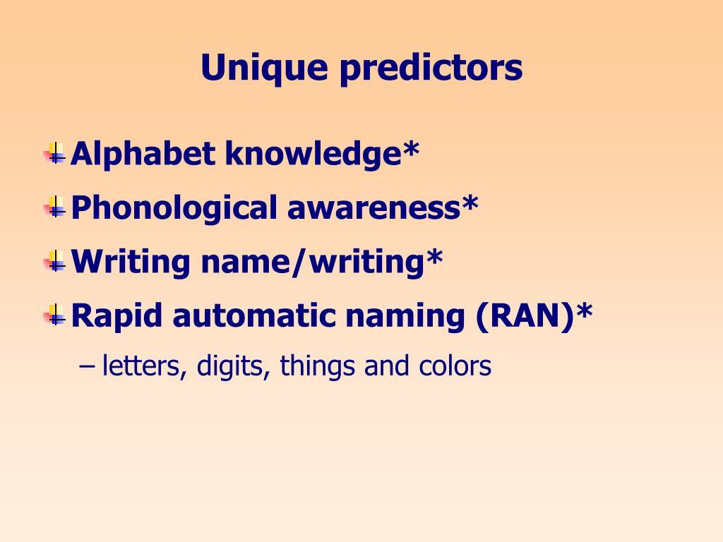Unique predictors