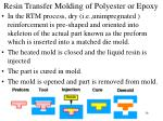 resin transfer molding of polyester or epoxy