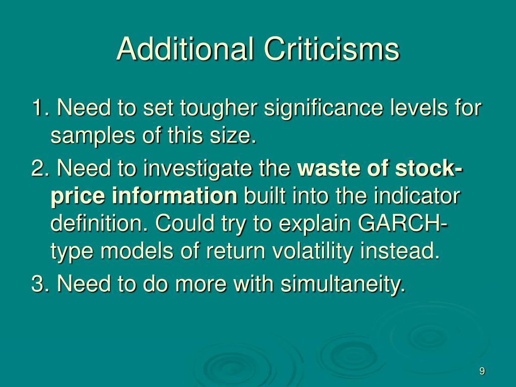 Additional Criticisms