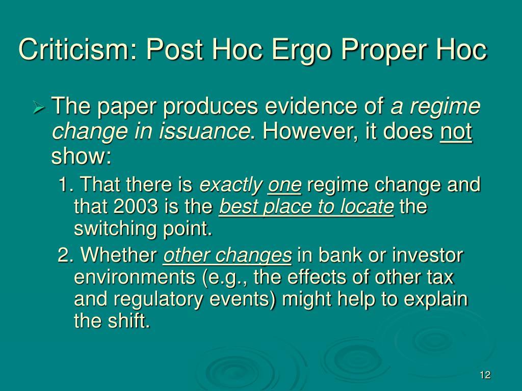 Criticism: Post Hoc Ergo Proper Hoc
