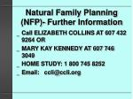 natural family planning nfp further information