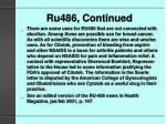 ru486 continued