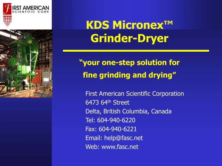Kds micronex grinder dryer your one step solution for fine grinding and drying