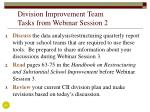 division improvement team tasks from webinar session 2