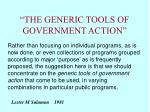 the generic tools of government action