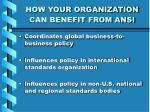how your organization can benefit from ansi9
