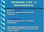 reading list references