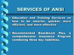 services of ansi