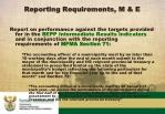reporting requirements m e