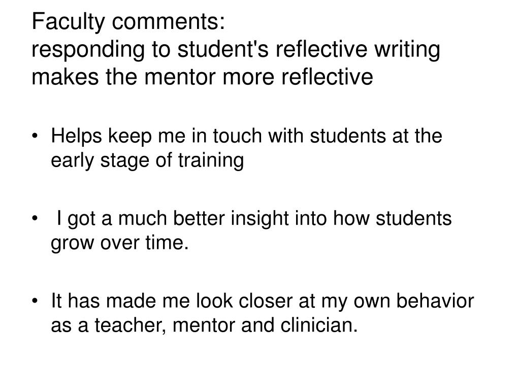 Faculty comments: