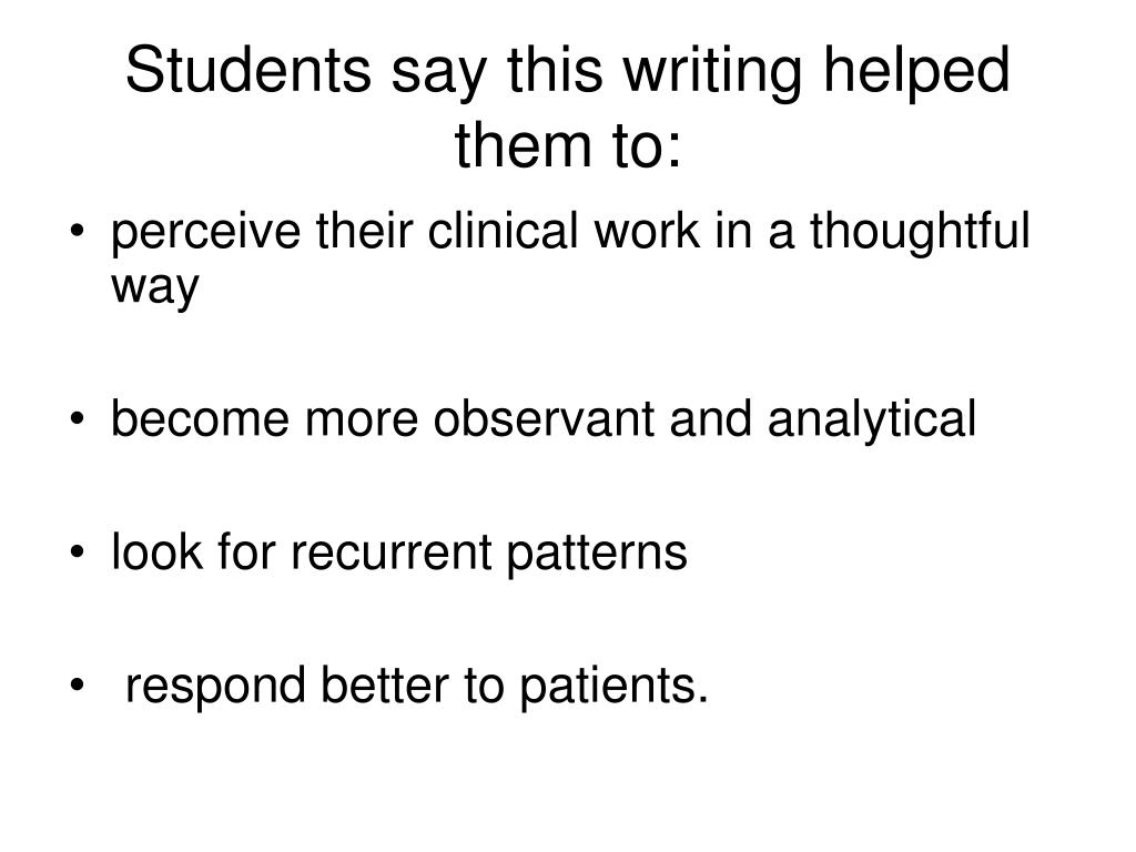 Students say this writing helped them to: