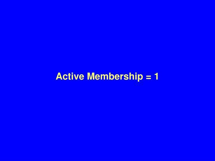Active Membership = 1
