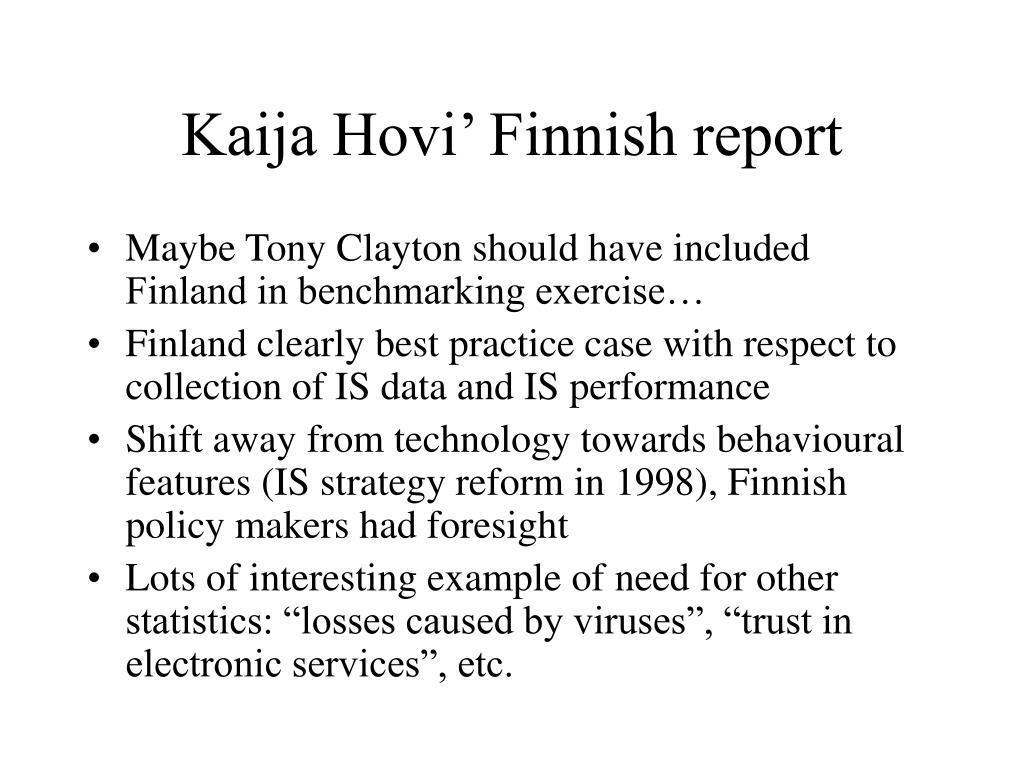 Kaija Hovi' Finnish report