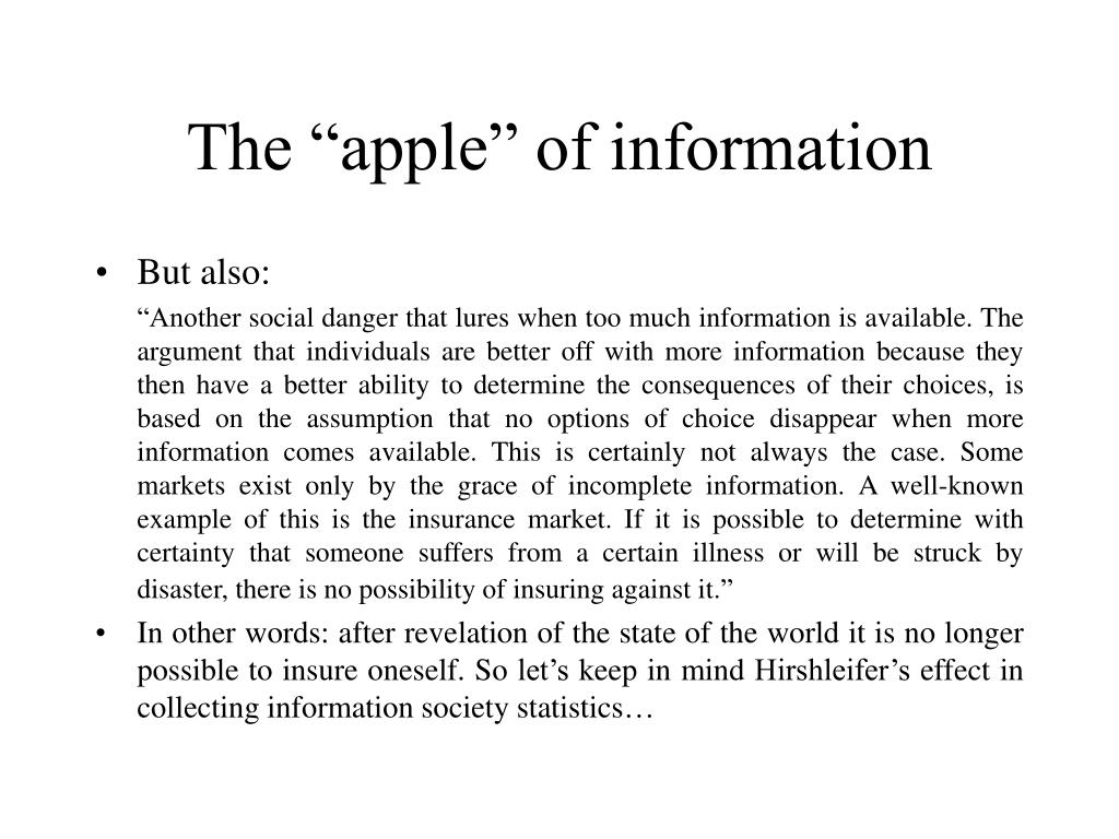 """The """"apple"""" of information"""