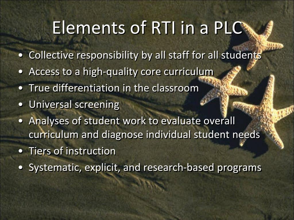 Elements of RTI in a PLC