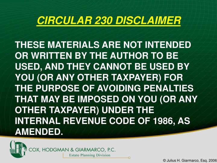 CIRCULAR 230 DISCLAIMER
