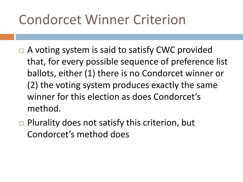 Condorcet Winner Criterion