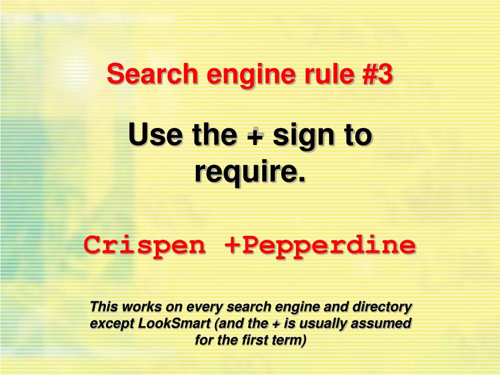Search engine rule #3