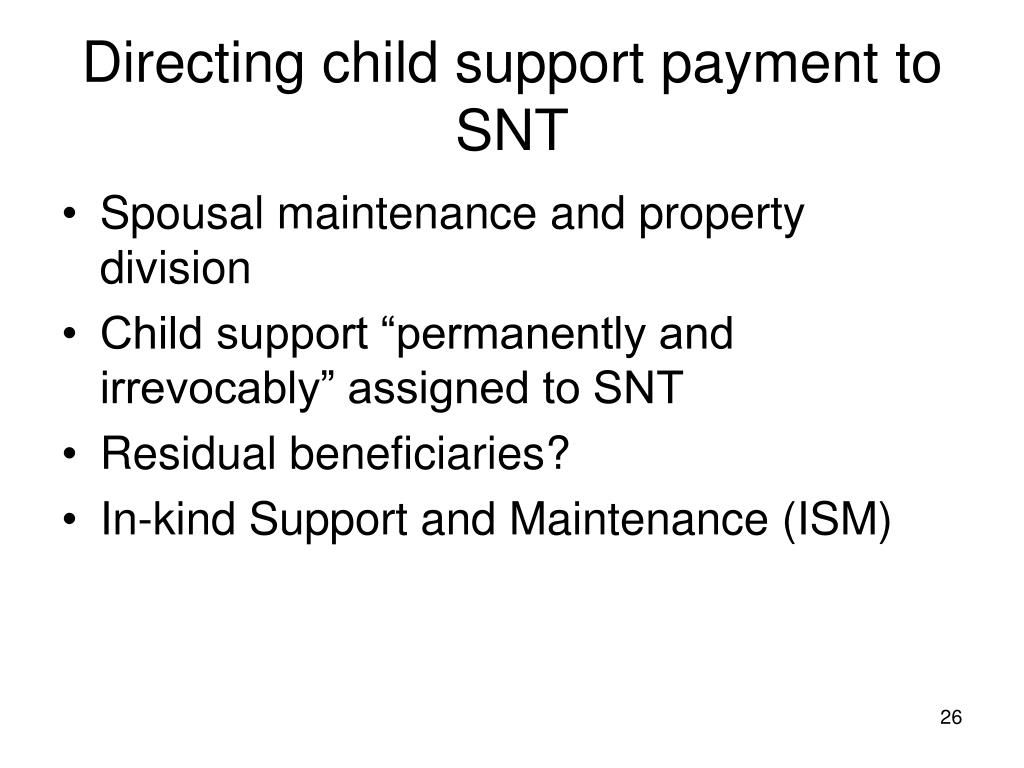 Directing child support payment to SNT